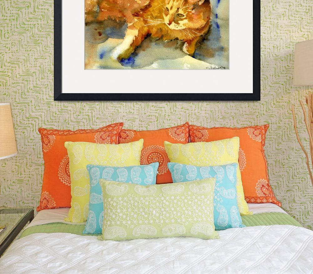 """Tabby Lights, Watercolor Painting Animal Orange Ca&quot  (2008) by schulmanart"