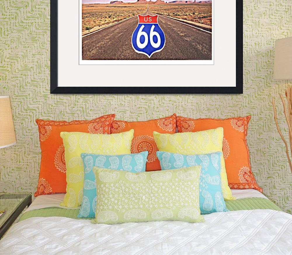 """Route 66 Sign Superimposed on Road&quot  by Panoramic_Images"