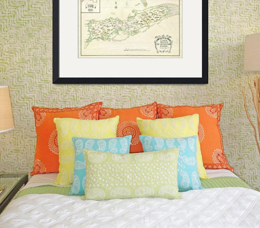 """1734 St. Thomas and St. Croix map&quot  by ArtistiquePrints"