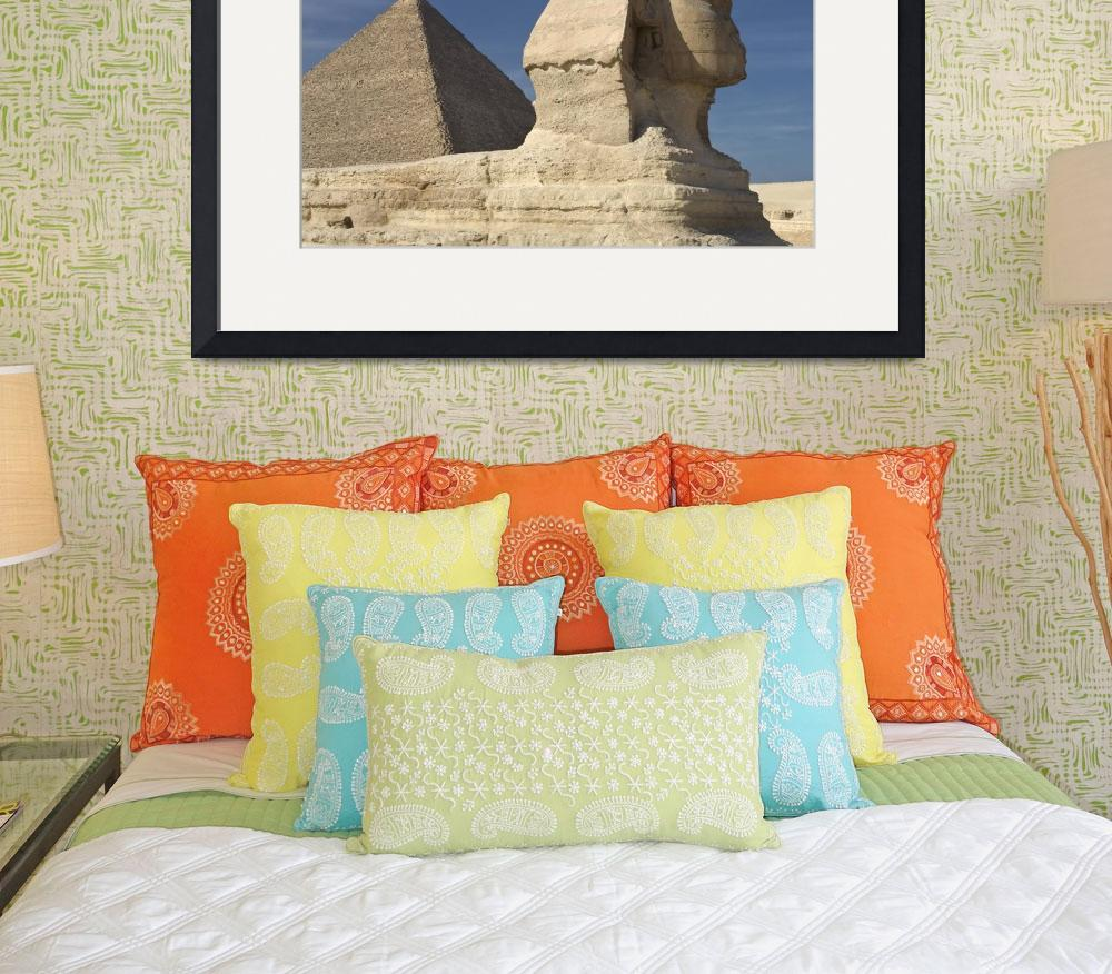"""The Sphinx With The Pyramid In Background&quot  by DesignPics"