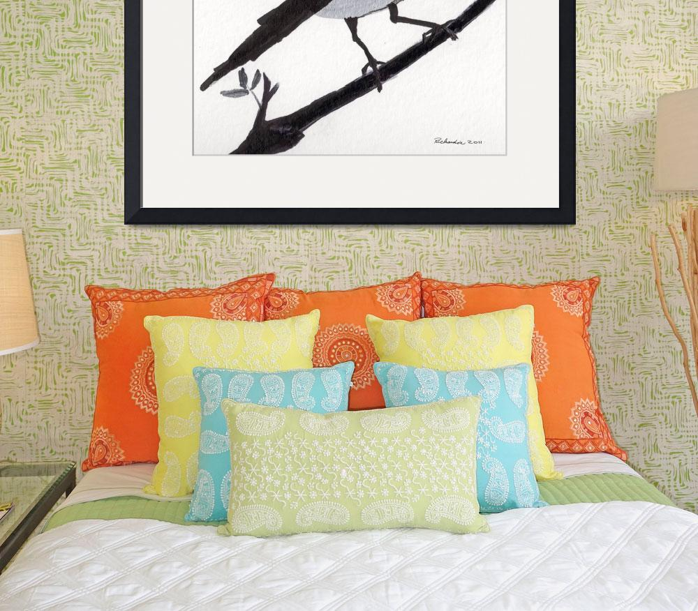 """Zen Sumi Bird 1b Ink on Watercolor Paper Ricardos&quot  (2011) by Ricardos"