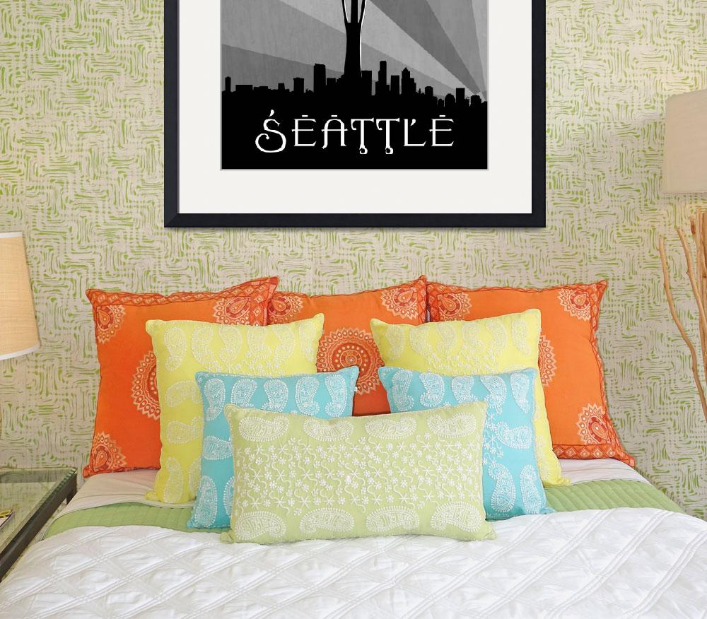 """Seattle Skyline&quot  (2011) by Hurricane"
