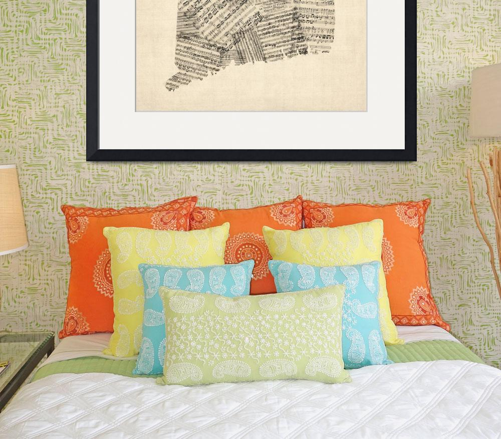 """Connecticut Sheet Music Map&quot  (2015) by ModernArtPrints"