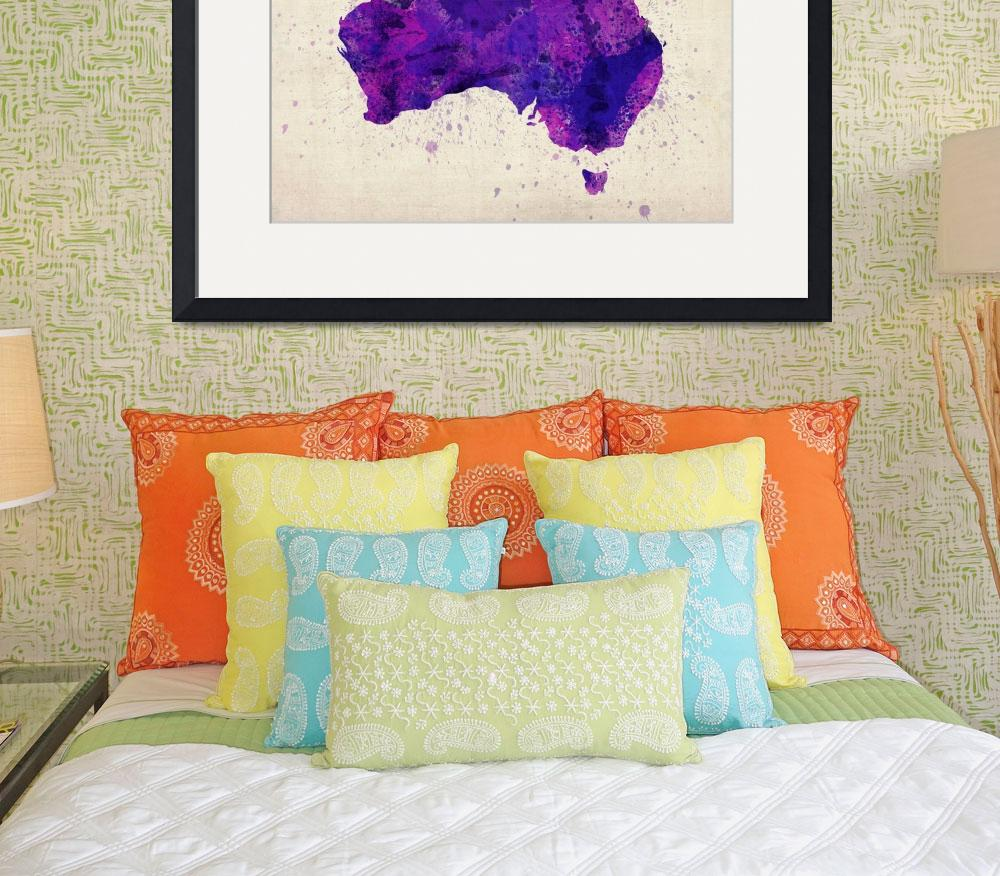 """Australia Watercolor Map Art&quot  (2012) by ModernArtPrints"