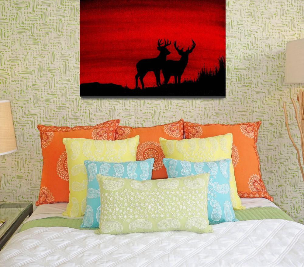 """Whitetail Deer at Sunset&quot  (2009) by vigliotti"