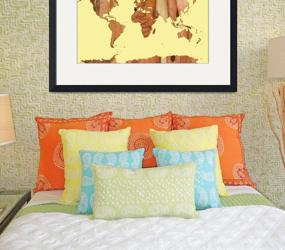 """Wood bark worldmap yellow&quot  (2014) by MarleneWatson"