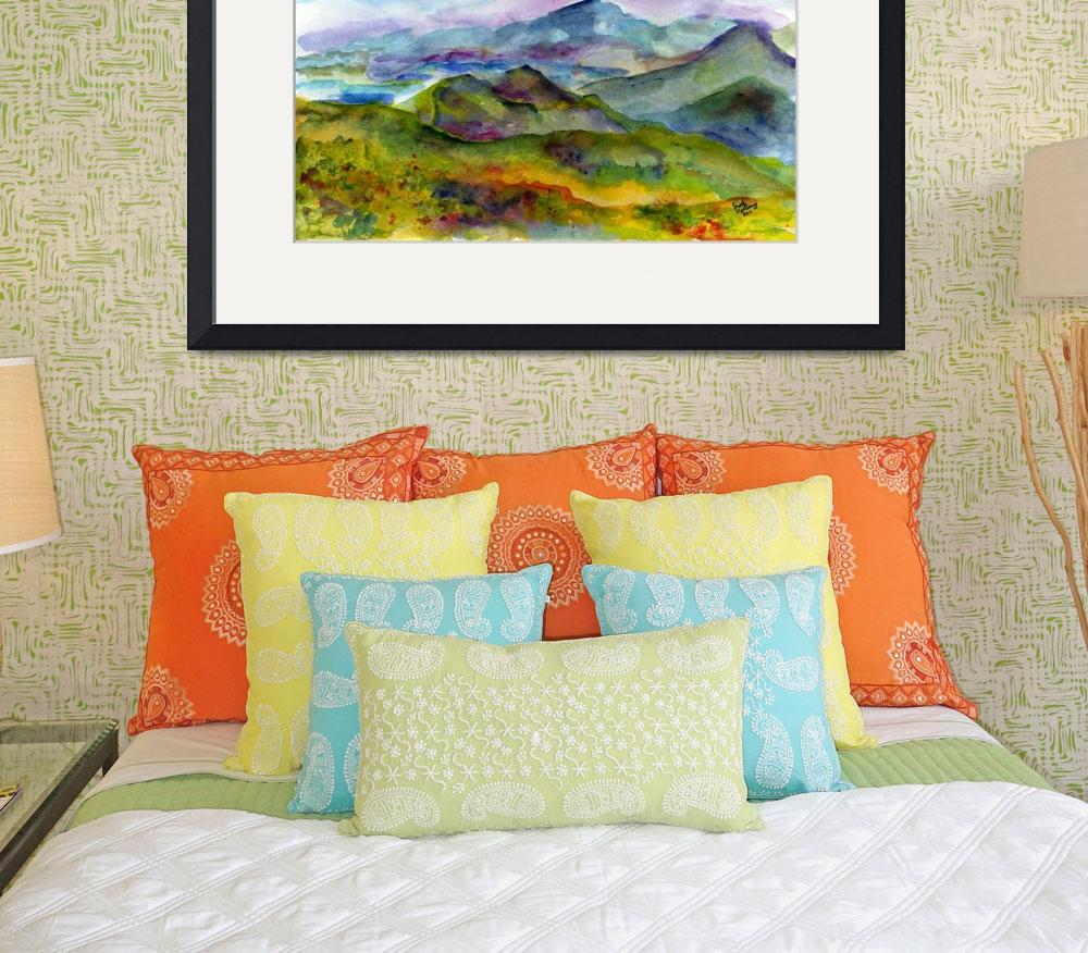 """Blueridge Mountains Georgia Watercolor by Ginette&quot  (2011) by GinetteCallaway"