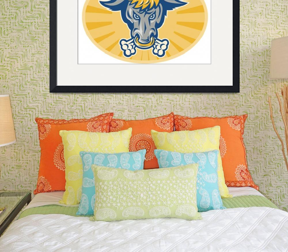 """Angry Texas Longhorn Bull Head Front&quot  (2013) by patrimonio"