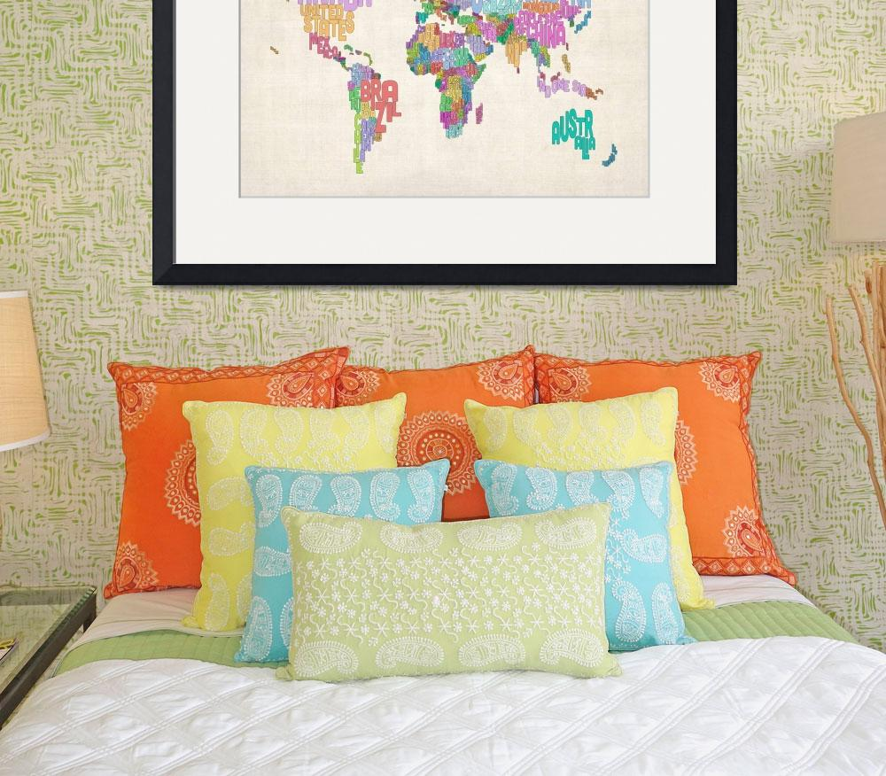 """Text Map of the World Map&quot  by ModernArtPrints"