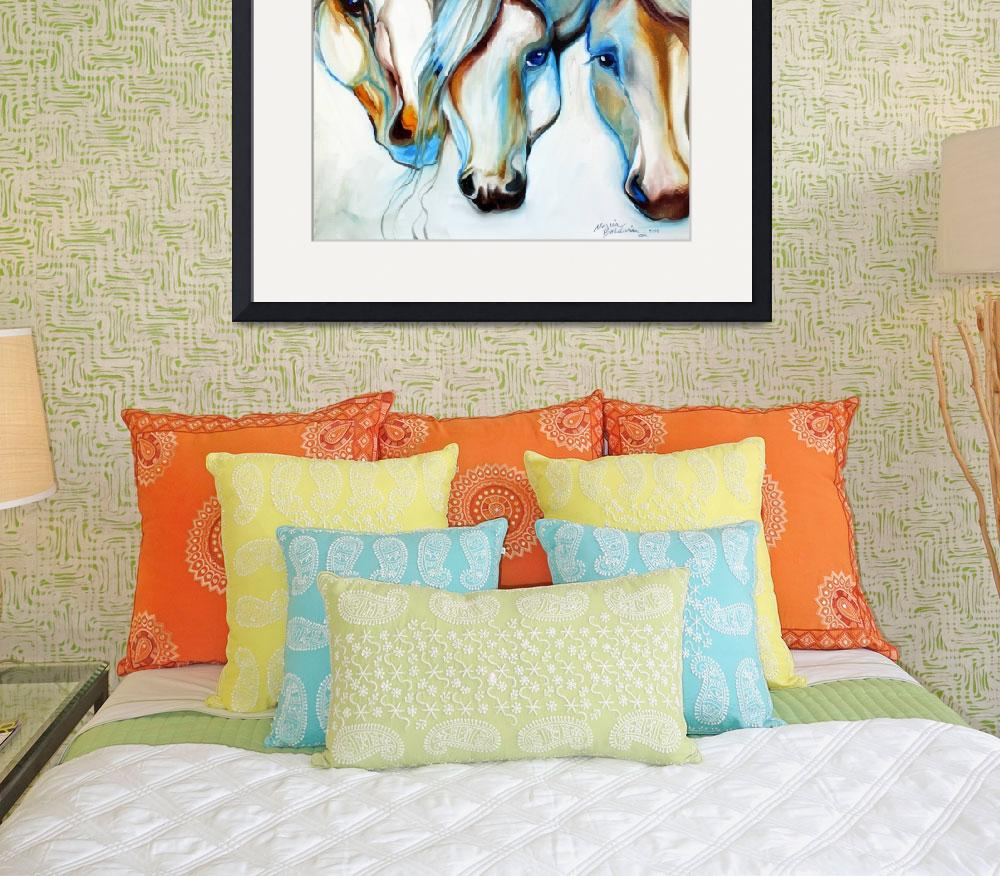 """3 WILD HORSES in ABSTRACT&quot  (2010) by MBaldwinFineArt2006"