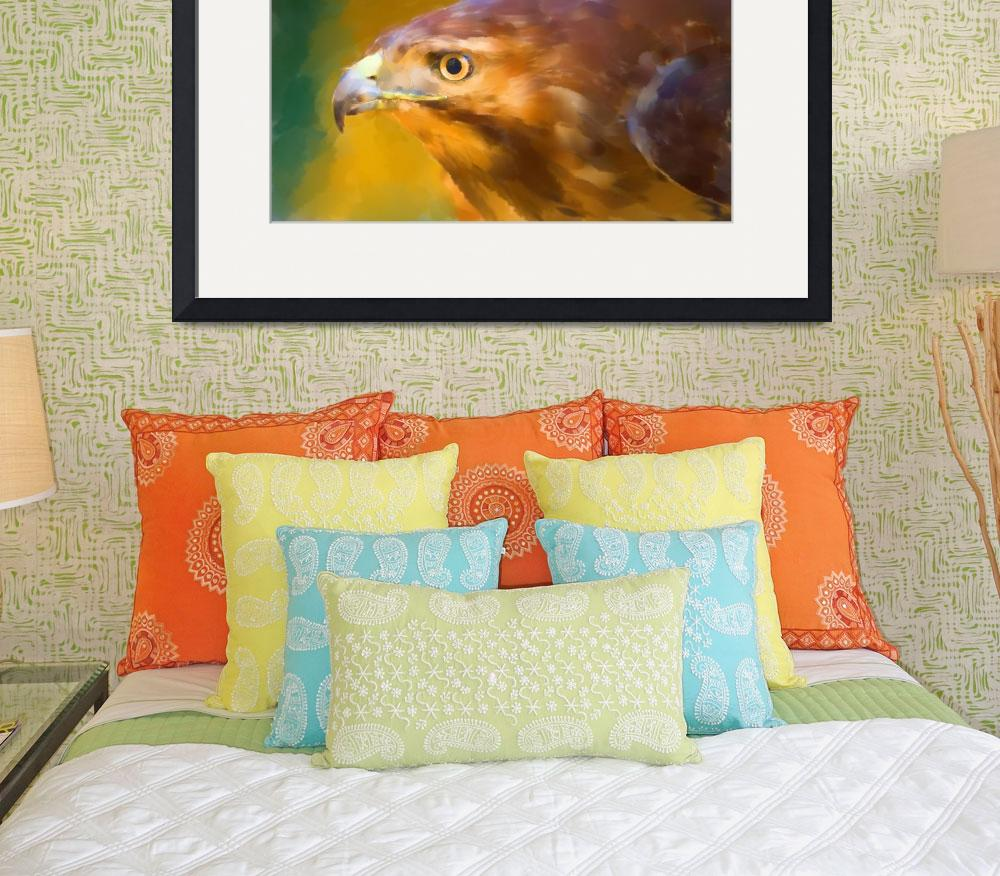 """Red Tailed Hawk Digital Watercolor&quot  (2009) by SederquistPhotography"