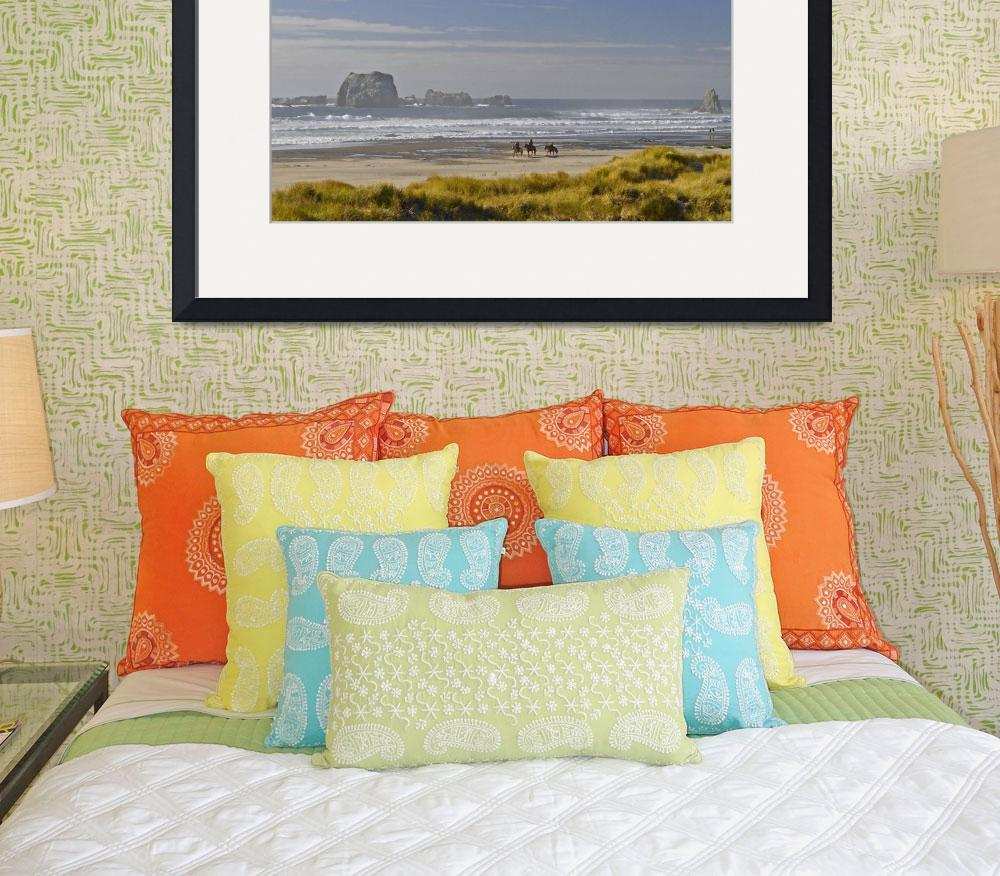 """Horseback riding on Bandon Beach, Oregon&quot  (2015) by JohnChaoPhoto"