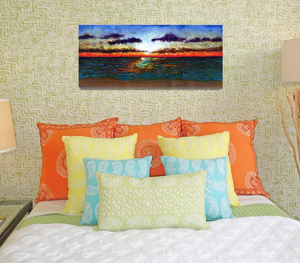 """Emerald Coast Florida Seascape Sunrise Painting&quot  (2015) by Ricardos"