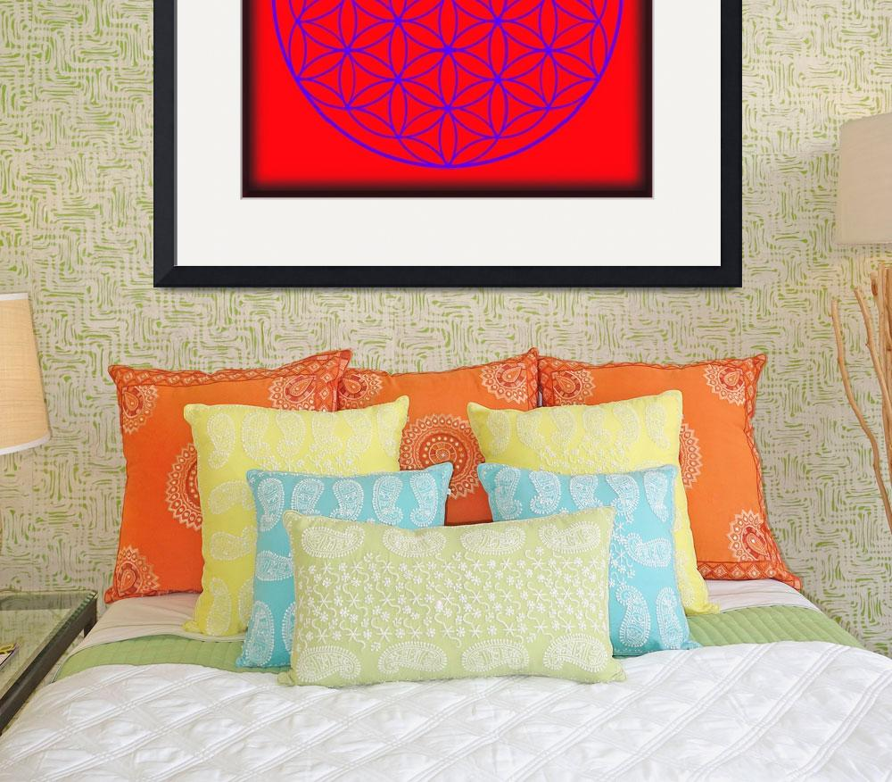 """Flower of Life in Red & Purple&quot  (2015) by MARIF"