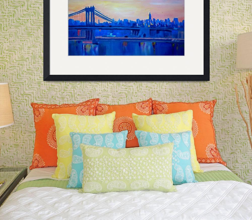 """Blue Manhattan Skyline with Bridge and Vanilla Sky&quot  (2014) by arthop77"