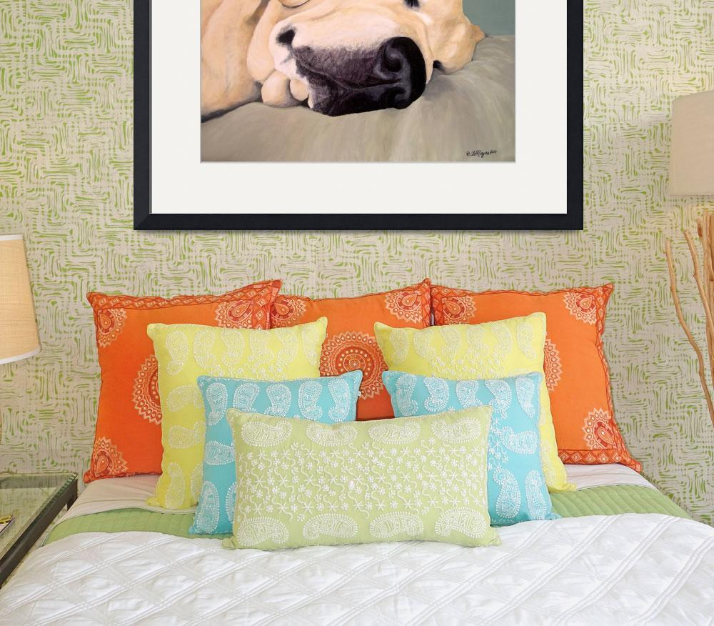 """Yellow Labrador Retriever Sleeps&quot  (2007) by DogsandFlowers"