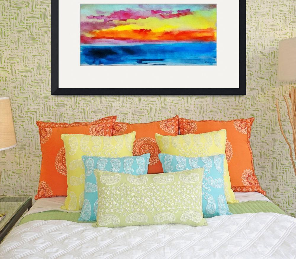 """C2 Abstract Expressive Sunrise Watercolor Painting&quot  (2016) by Ricardos"