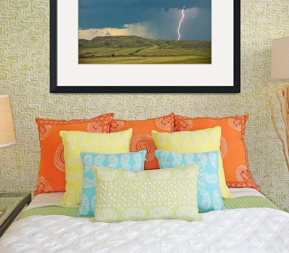 """Lightning Striking Over 70 Mile Butte, Saskatchewa&quot  by DesignPics"
