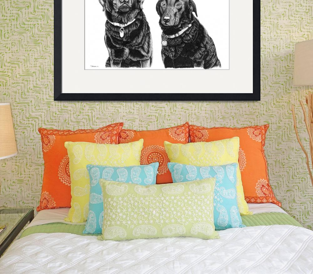 """Charlie and Alfie (Black Labradors)&quot  (2006) by Eris-Artwork"