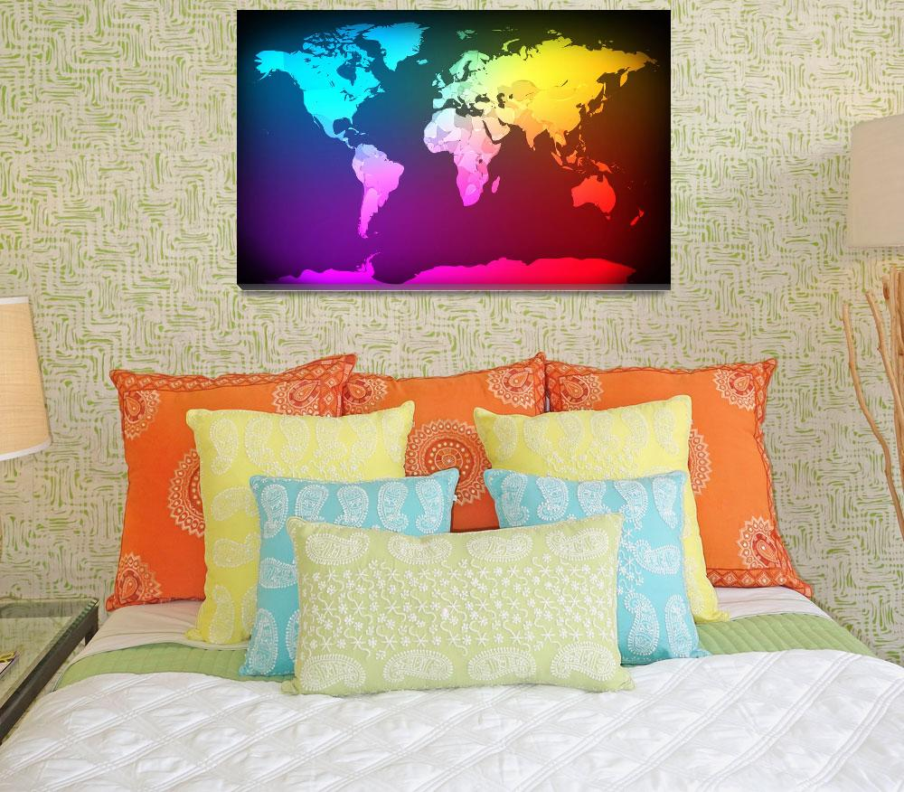 """Abstract Map of the World&quot  (2012) by ModernArtPrints"