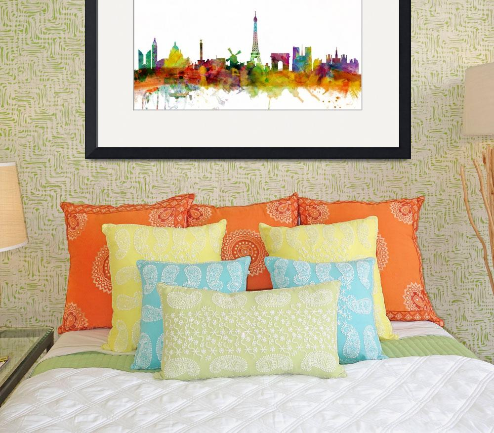 """Paris France Skyline Panoramic&quot  (2013) by ModernArtPrints"