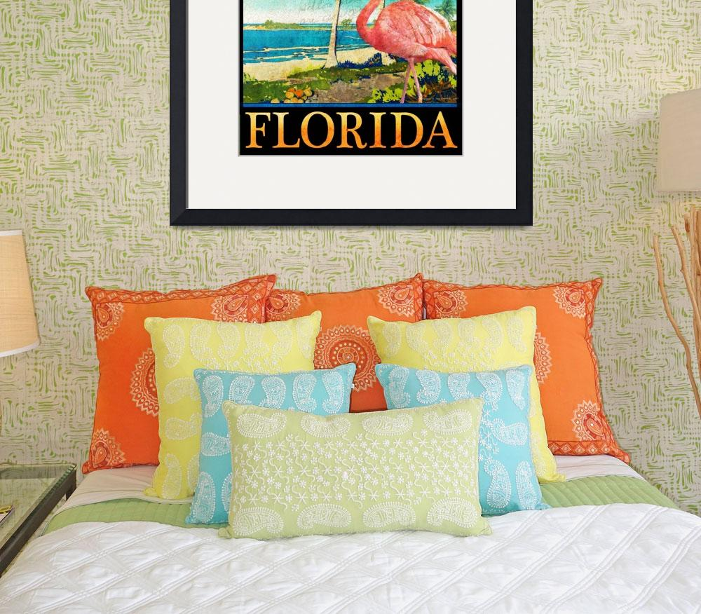 """florida flamingo beach poster&quot  (2017) by rchristophervest"