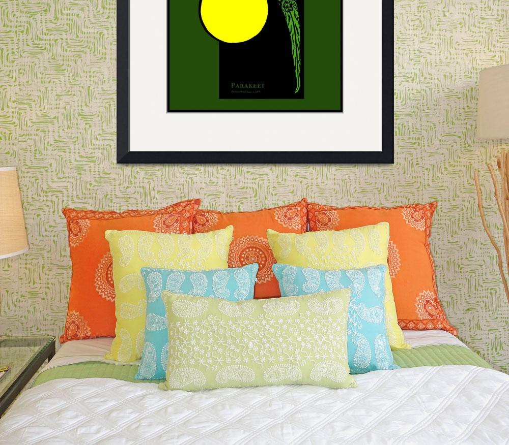 """Parakeet and Full Moon&quot  (1994) by birdartprints"