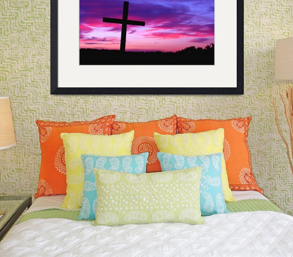 """From Above: Cross Silhouetted by a Colorful Sunset&quot  by PaulHuchton"