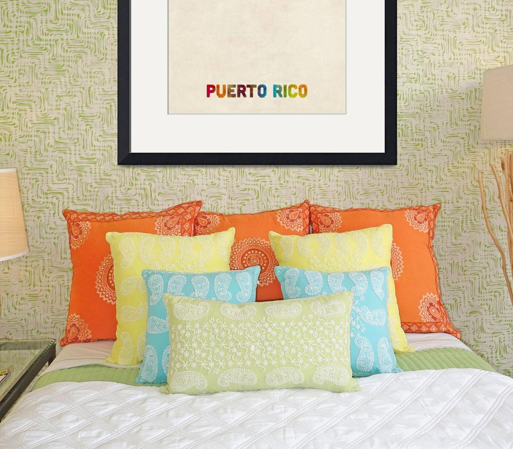 """Puerto Rico Watercolor Map&quot  (2015) by ModernArtPrints"