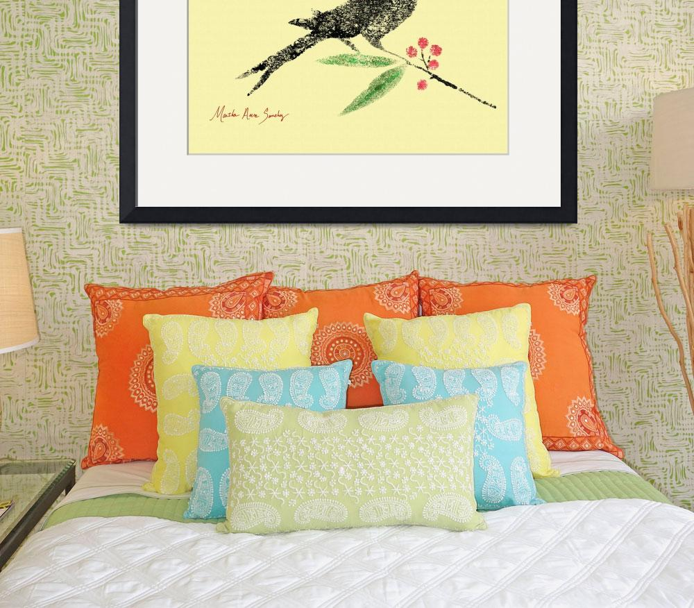 """Decorative Black Bird and Red Berries on Yellow L&quot  (2015) by MasArtStudio"