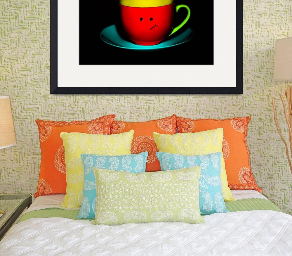 """Funny Wall Art - Bashful Colourful Teacup&quot  by NatalieKinnear"