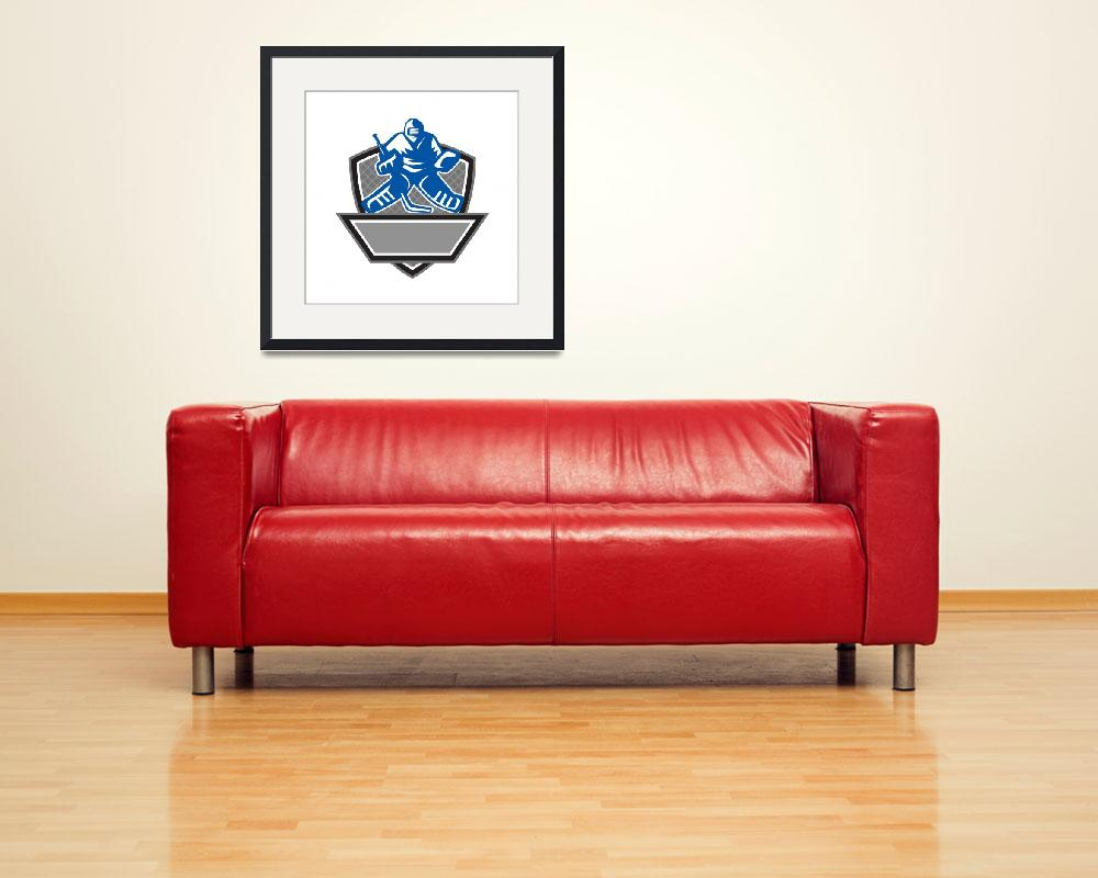 """Ice Hockey Goalie Crest Retro&quot  (2016) by patrimonio"