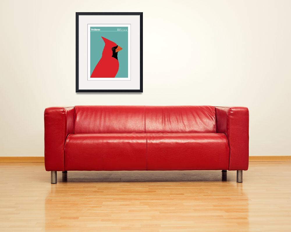"""State Posters - Indiana State Bird: Northern Cardi&quot  by artlicensing"