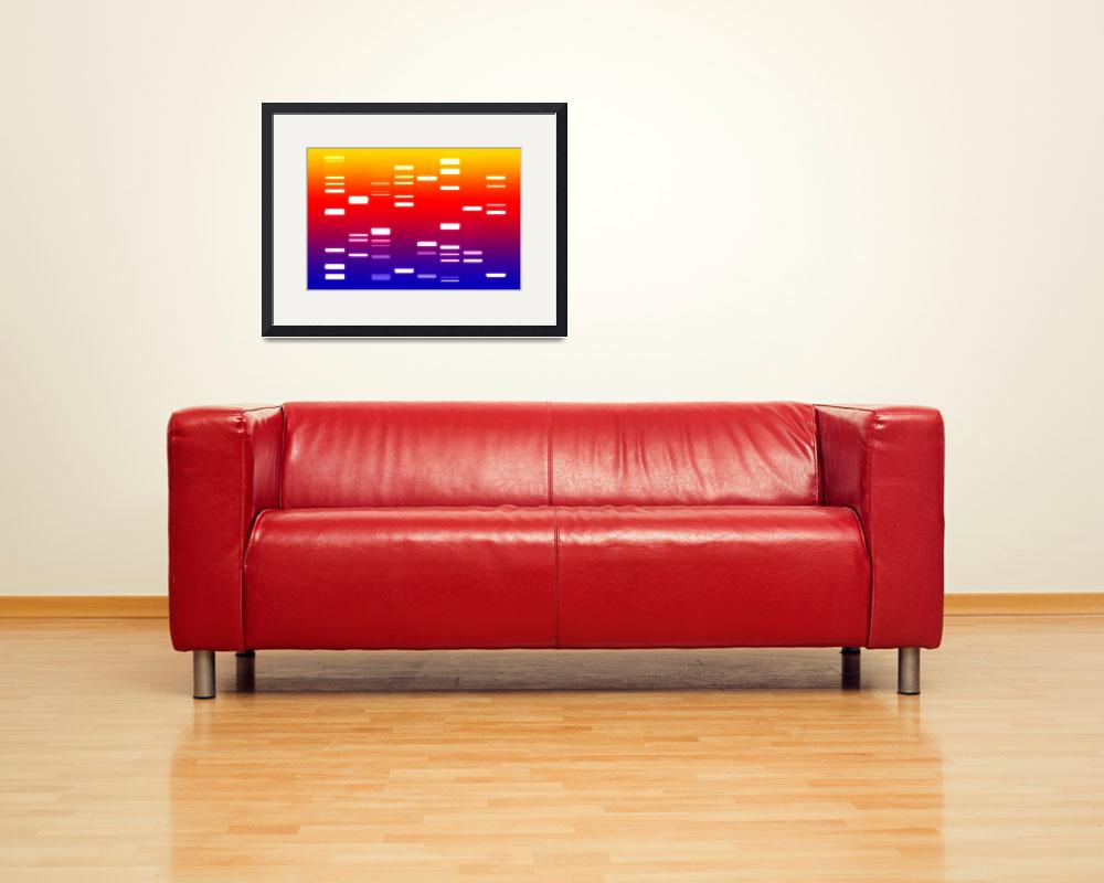 """DNA Art Blue Red Yellow&quot  (2010) by ModernArtPrints"