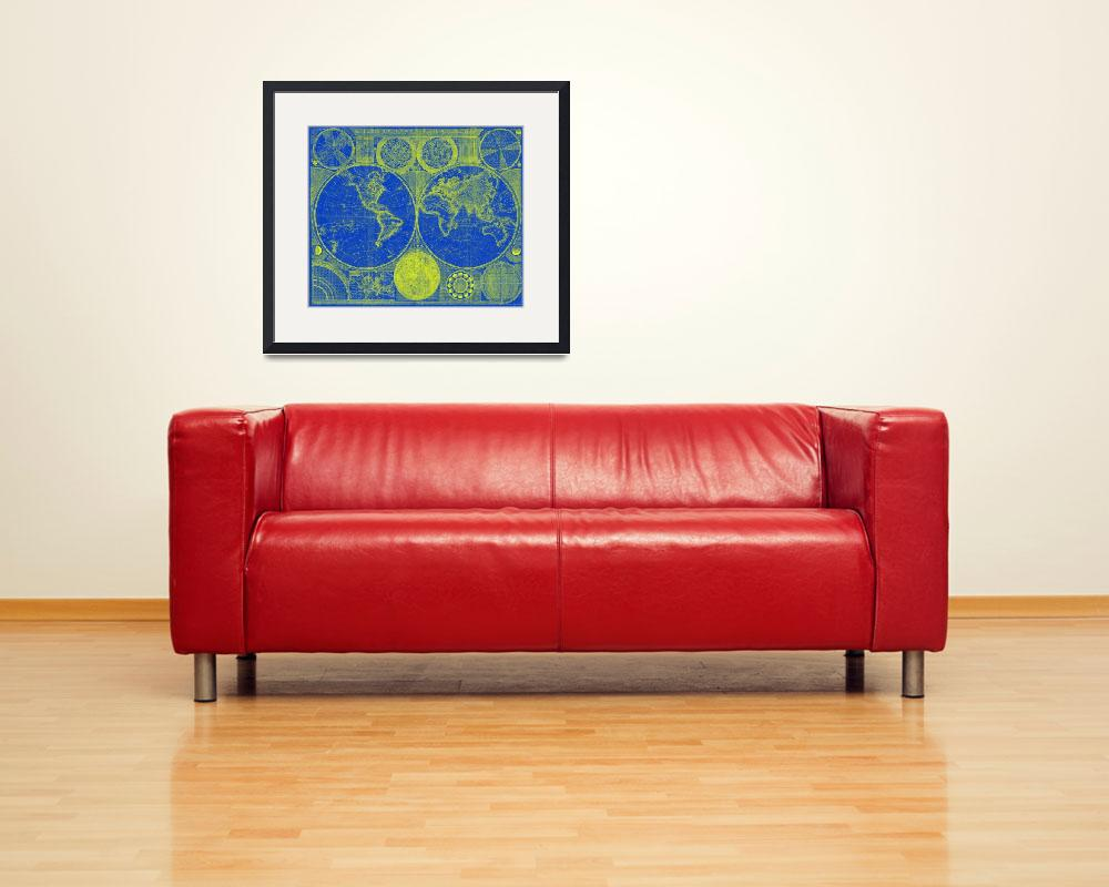 """World Map (1794) Blue & Yellow&quot  by Alleycatshirts"