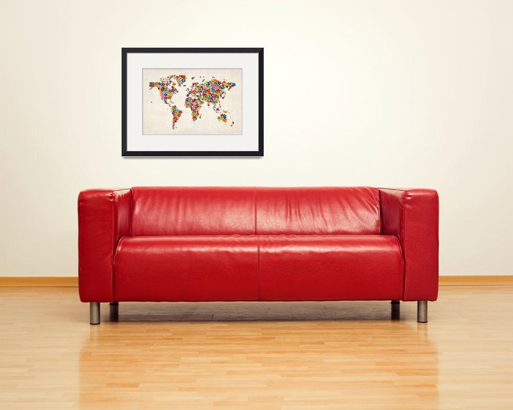"""Flowers Map of the World Map&quot  (2012) by ModernArtPrints"
