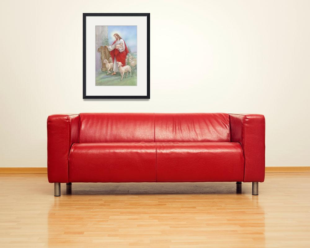 """Jesus in a red robe with a flock of sheep&quot  by artlicensing"
