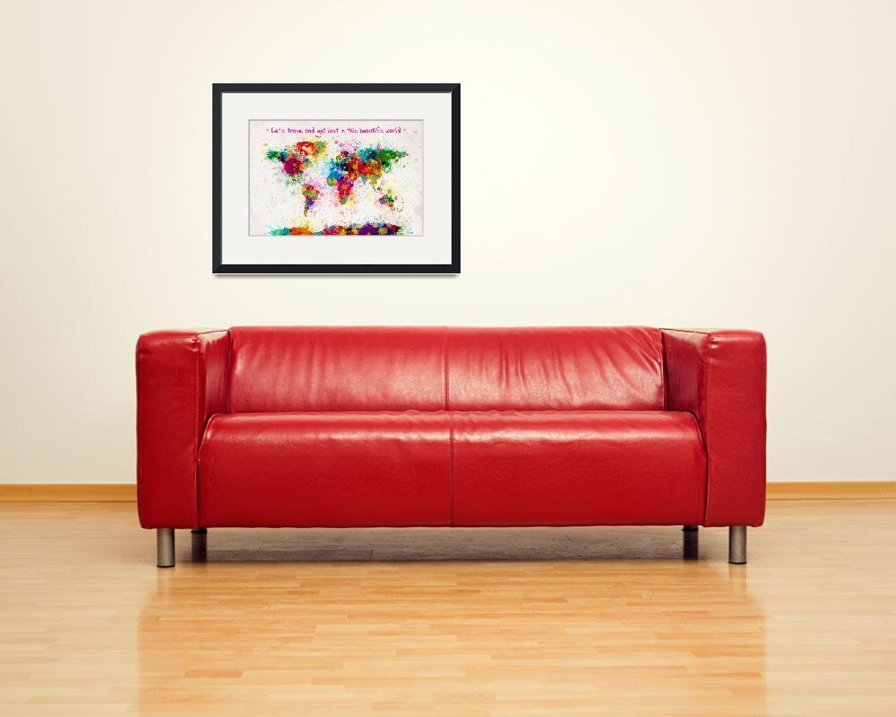 """Custom world map paint splashes for Ella&quot  (2014) by ModernArtPrints"