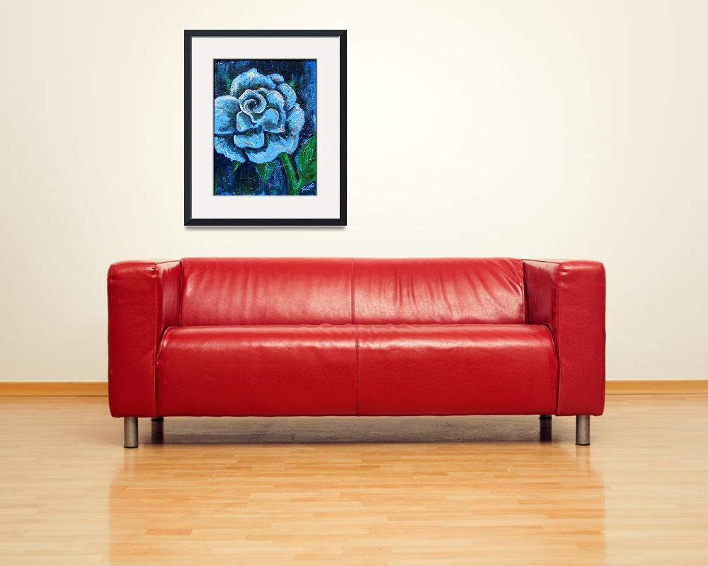 """""Blue Rose"" original acrylic  painting&quot  (2008) by marnold"