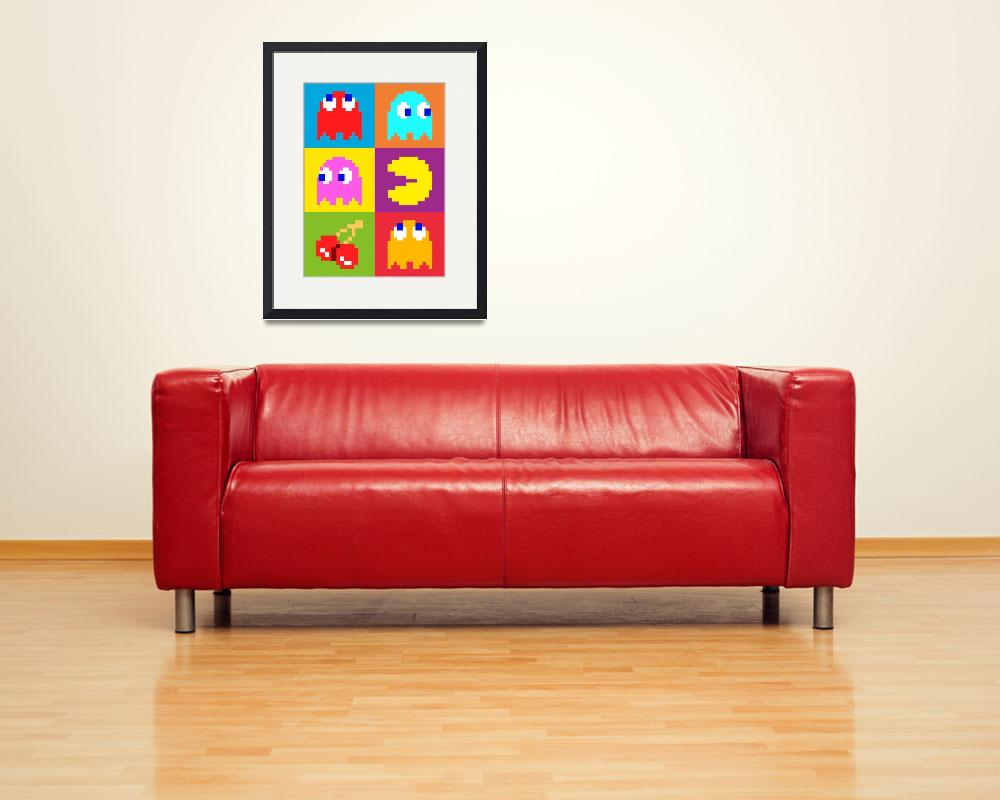 """PacMan Squares&quot  (2010) by ModernArtPrints"