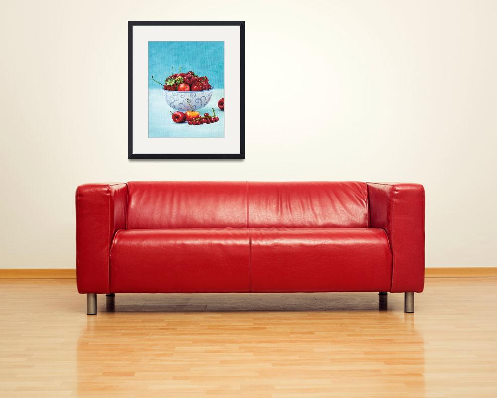 """Strawberries and cherries still life art&quot  (2011) by nopiepan"