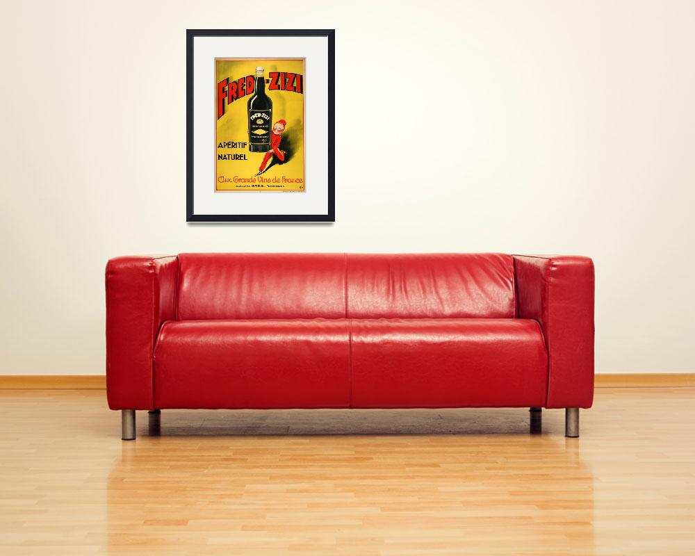 """Vintage poster - Fred-Zizi Aperitif&quot  by mosfunky"