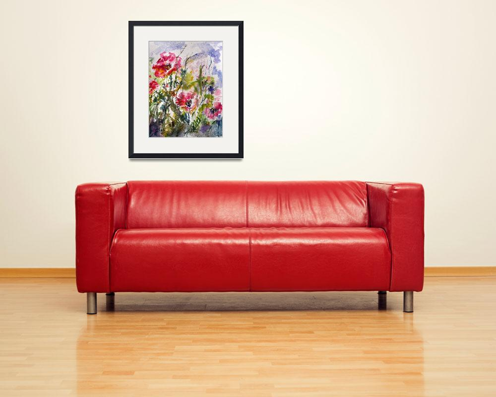 """Pink Oriental Poppies Watercolor by Ginette&quot  (2009) by GinetteCallaway"
