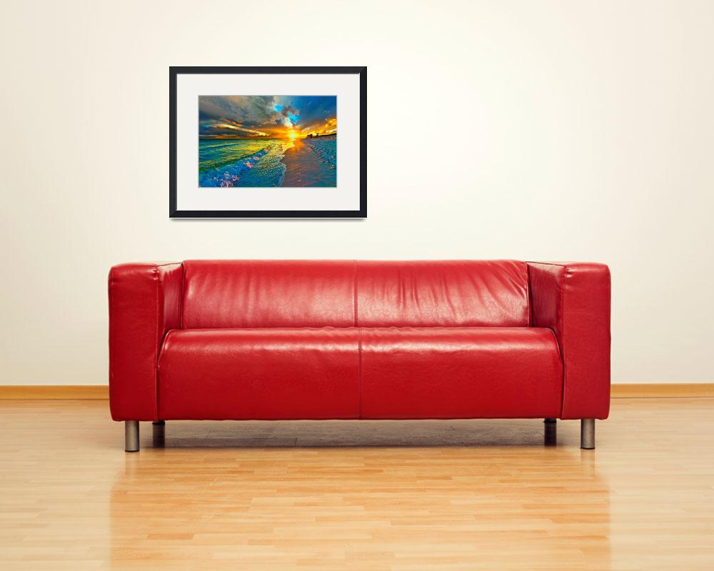 """Sunset Seascape Art Print Blue Beach Landscape&quot  (2013) by eszra"