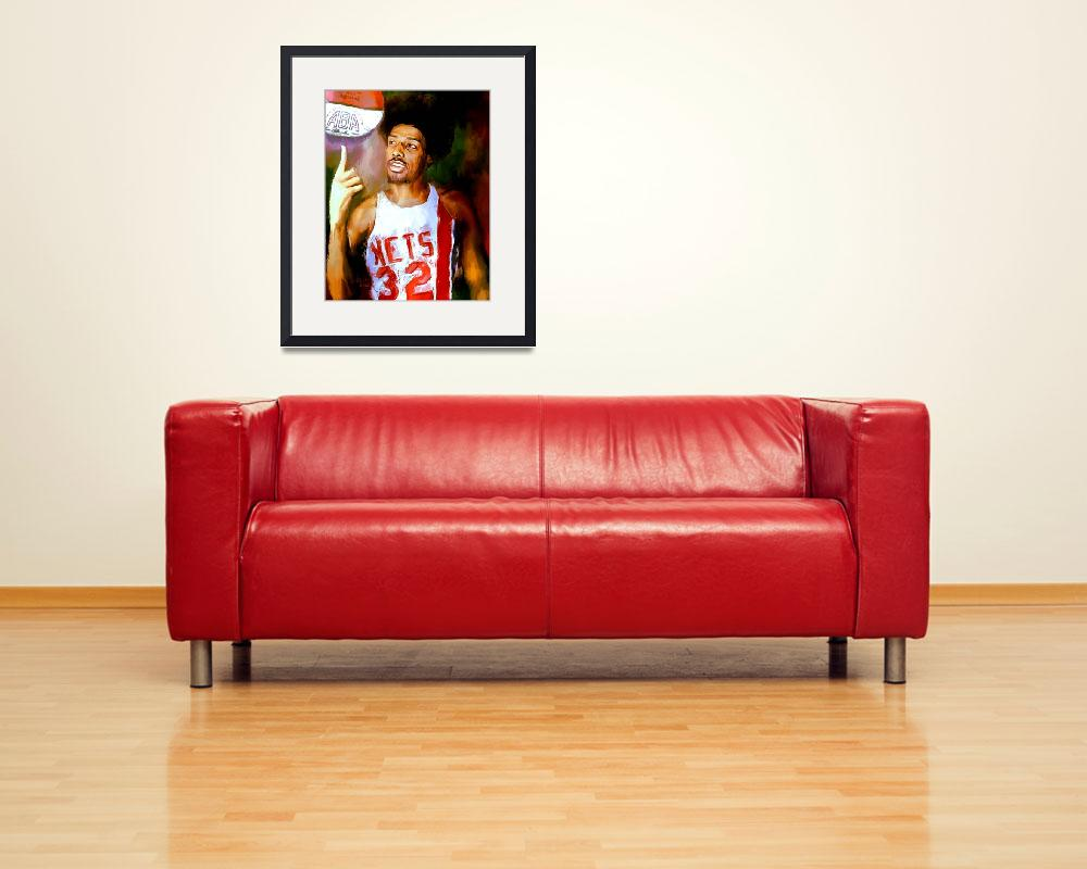 """Julius Erving, Dr. J ABA New Jersey Nets Portrait&quot  (2012) by artofvela"
