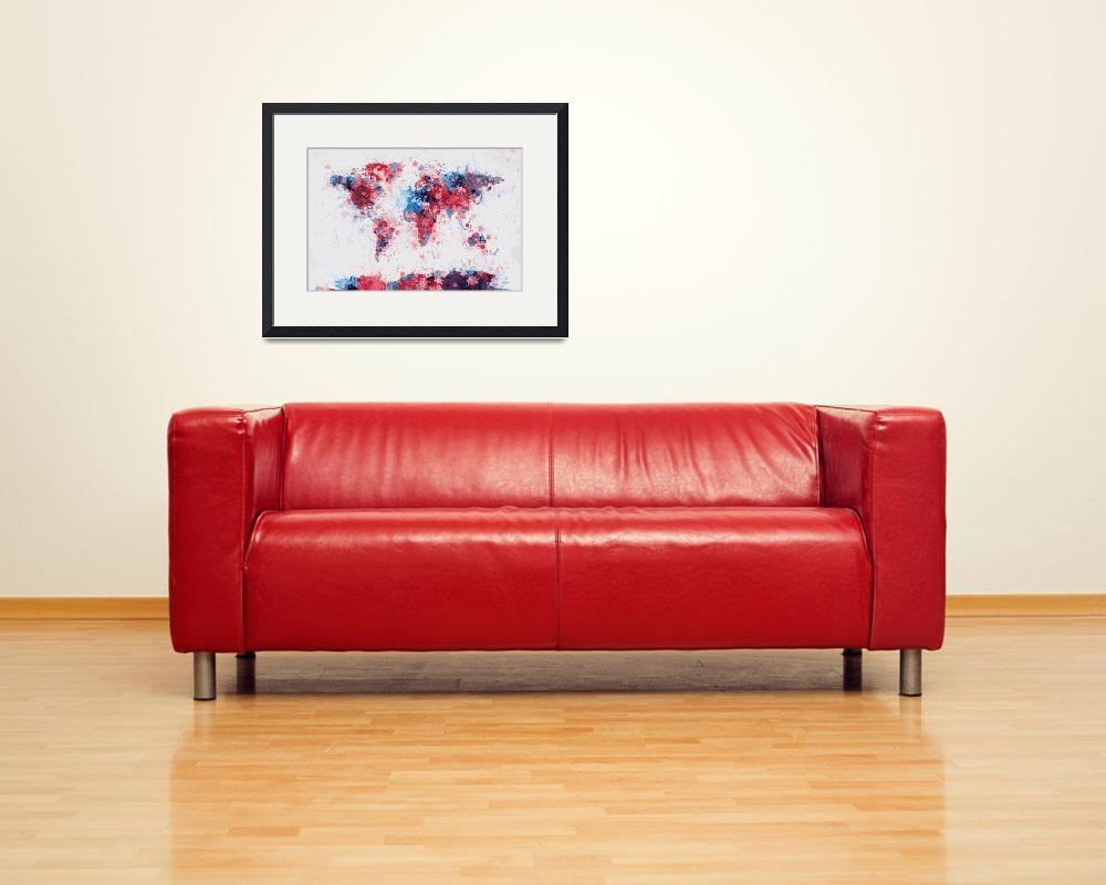 """World Map Paint Splashes&quot  (2013) by ModernArtPrints"