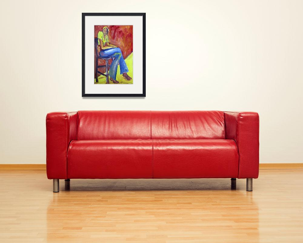 """Girl Sitting&quot  (1973) by KsWorldArt"