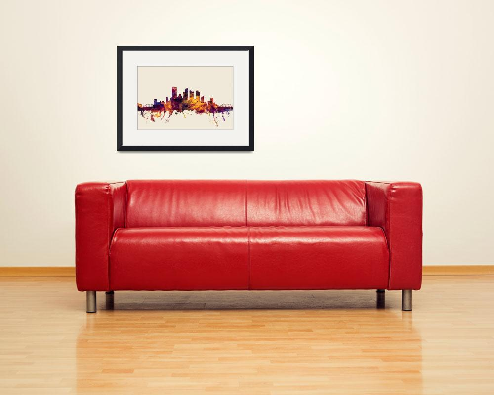 """Pittsburgh Pennsylvania Skyline&quot  (2014) by ModernArtPrints"
