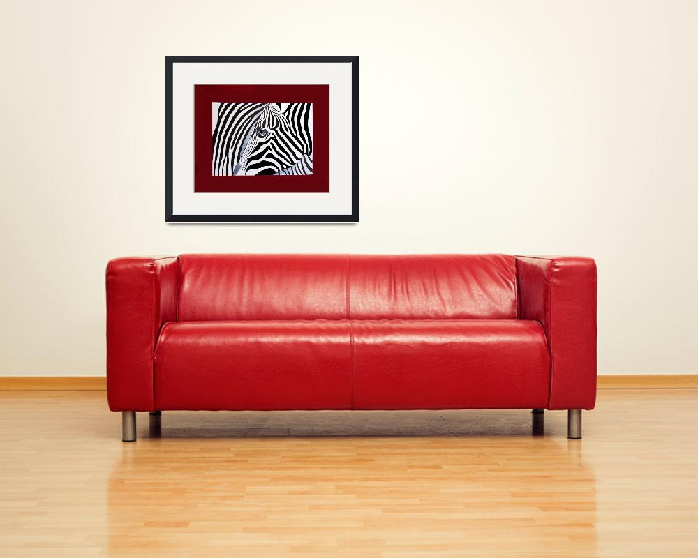 """Zebra abstract on red&quot  (2011) by Spangles44"