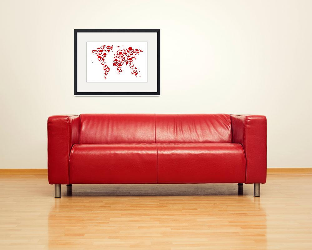 """Dinosaur Map of the World Map&quot  (2014) by ModernArtPrints"